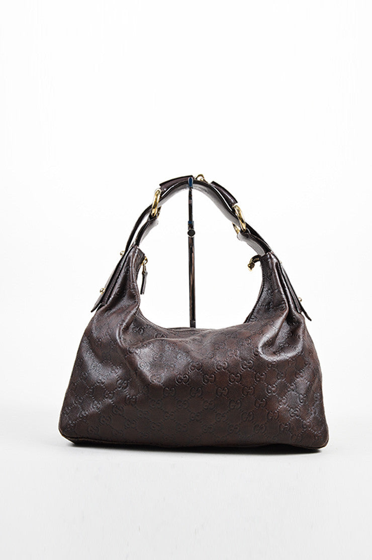 "Brown Gucci ""Guccissima"" Mogogram Leather Medium Horsebit Hobo Bag Front"