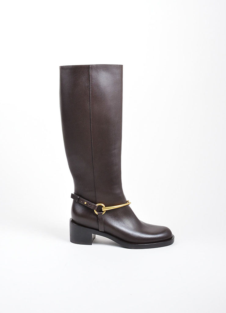 Brown and Gold Toned Gucci Leather Horsebit Knee High Riding Boots Sideview