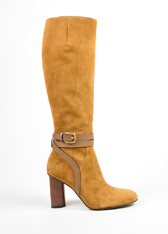 "Camel Brown Gucci Suede High Heeled ""Abigail"" Knee High Boots Sideview"