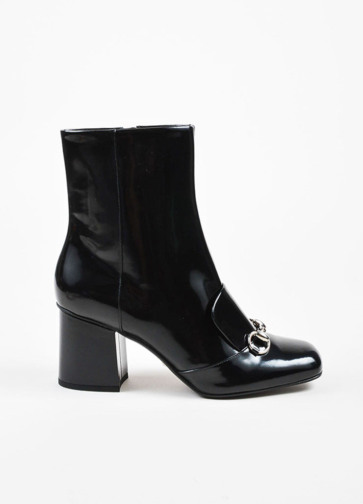 "Black Gucci Patent Leather Horse Bit ""Regent"" Mid Calf Boots Side"