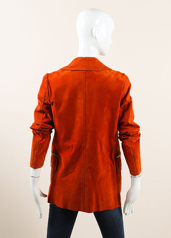 Gucci Orange Suede Leather Long Sleeve Double Breasted Pea Coat Backview