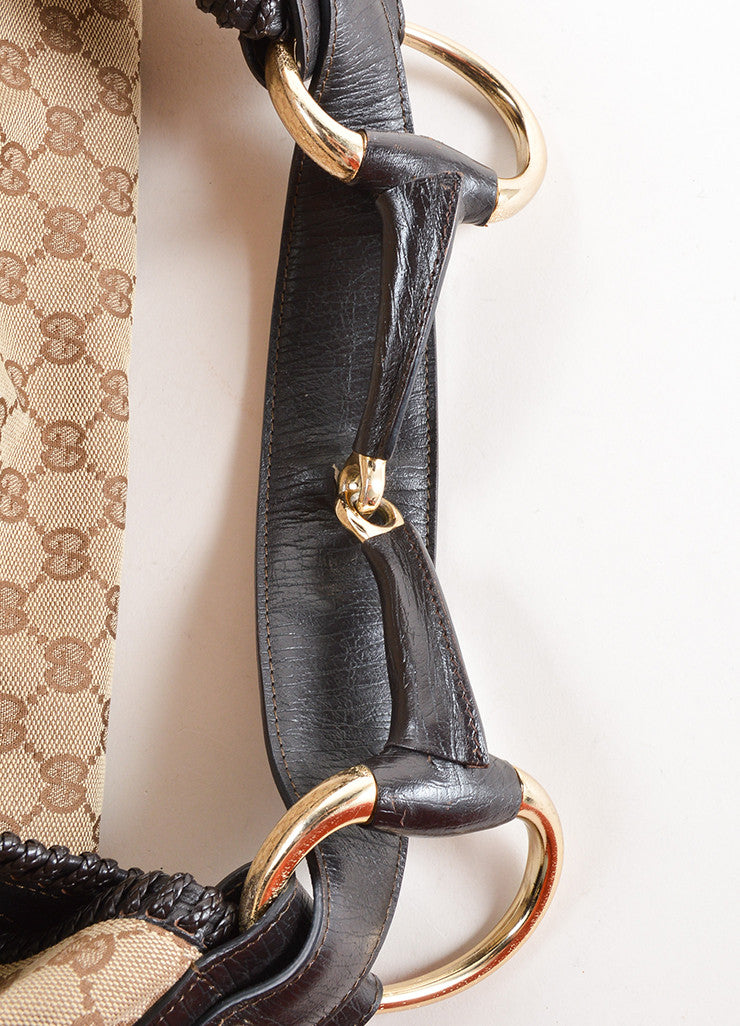 Gucci Tan and Brown Monogram Canvas and Leather Horsebit Large Hobo Bag Detail 2