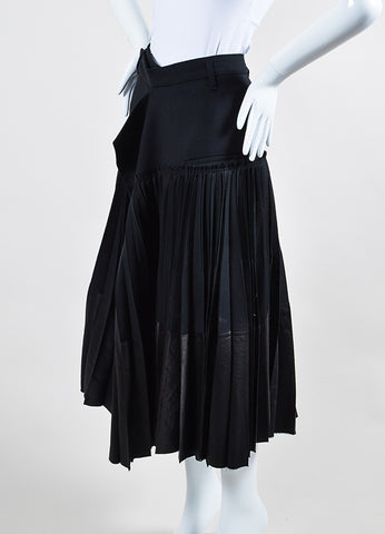 Haider Ackermann Black Wool Pleated Wrap Midi Skirt Sideview