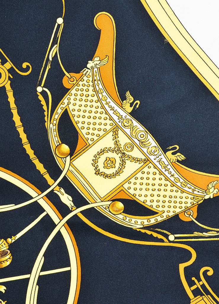 "Black, Gold and White Hermes Silk ""Springs"" Carriage Print 90cm Scarf Detail"