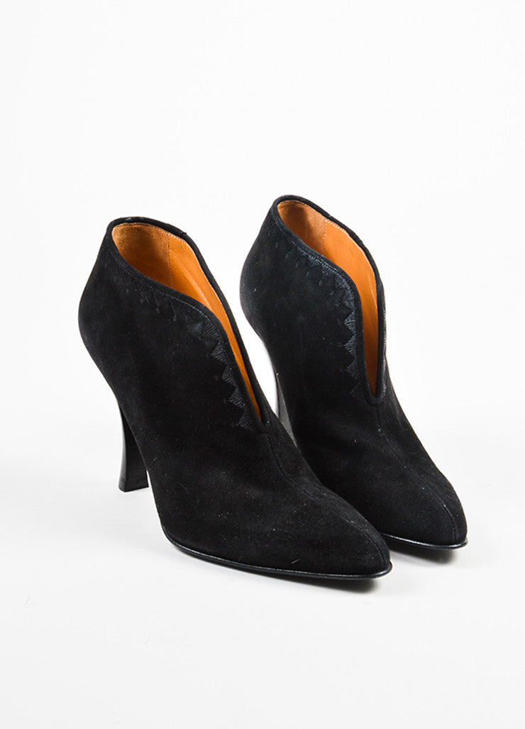 Hermes Black Suede Embroidered Notched Slip On Heeled Booties Frontview