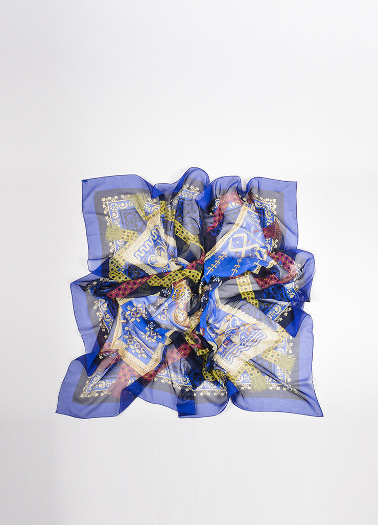 "Hermes Blue and Multicolor Silk ""Brins d'Or"" Geometric Print 140cm Sheer Scarf Frontview"