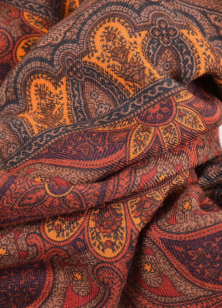 Hermes Rust Orange Cashmere and Silk Blend Printed Fringe Trim Scarf Detail