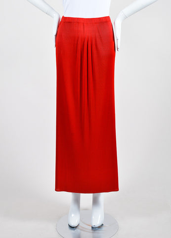 Scarlet Red Issey Miyake Micro Pleated Split Overlay Maxi Skirt Frontview