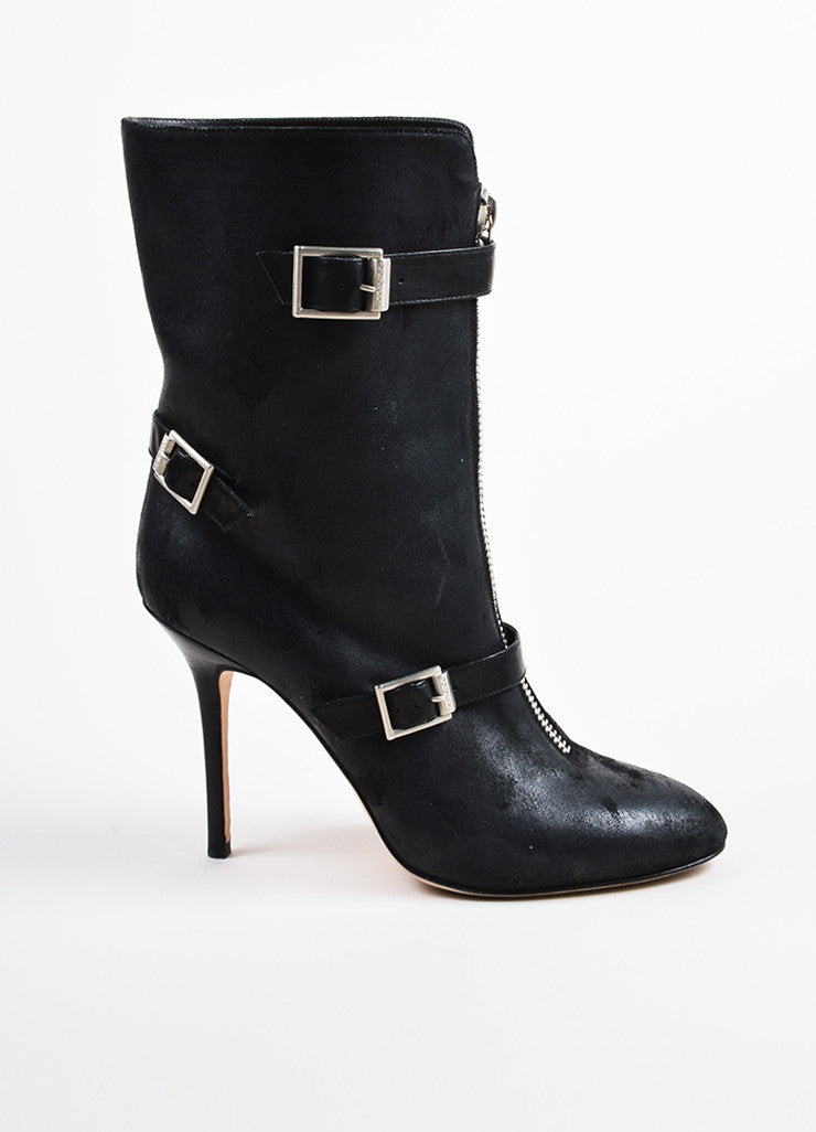 Jimmy Choo Black Leather Buckle Detail High Heel Boots Side