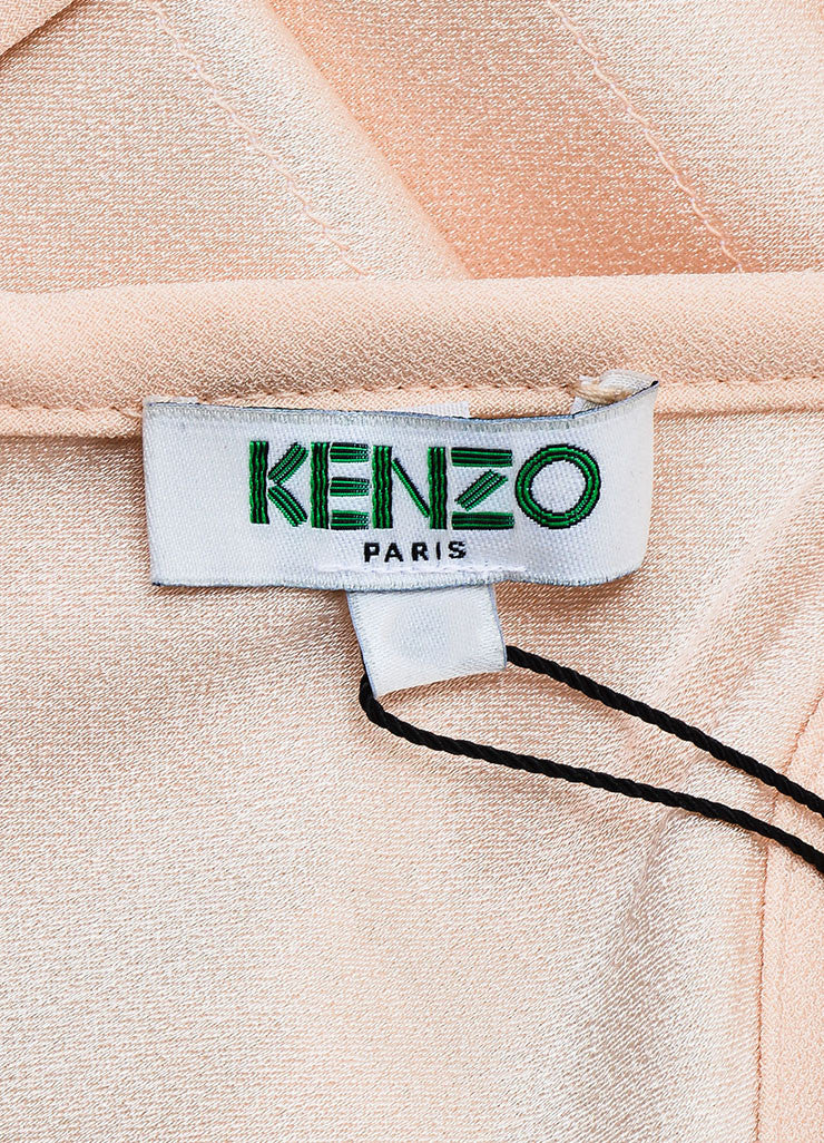 Kenzo Peach, Nude and White Crepe Ribbon Striped Sleeveless Dress Brand