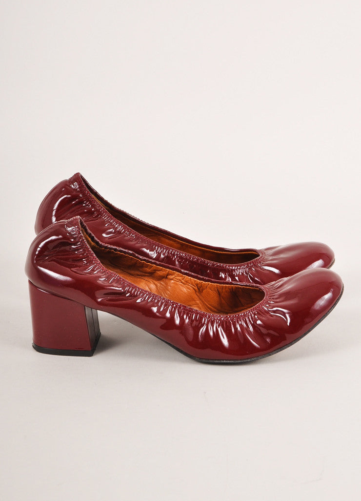 Lanvin Deep Red Patent Leather Elastic Block Heels Sideview