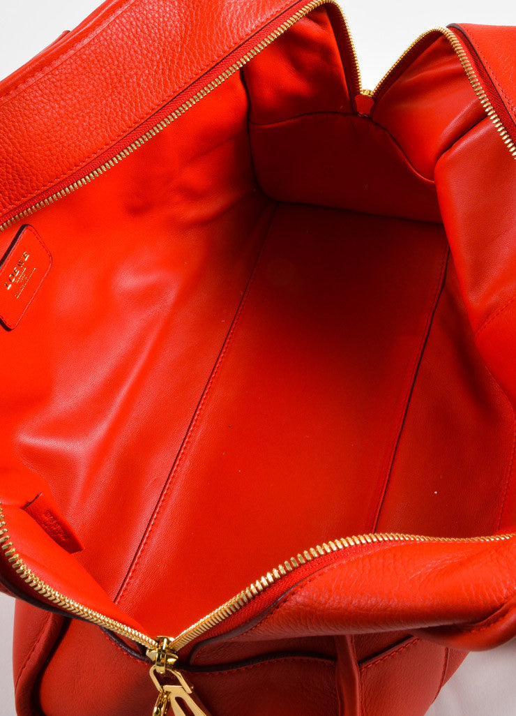 "Loewe Red Leather Limited Edition ""Amazona 36"" Satchel Bag Interior"
