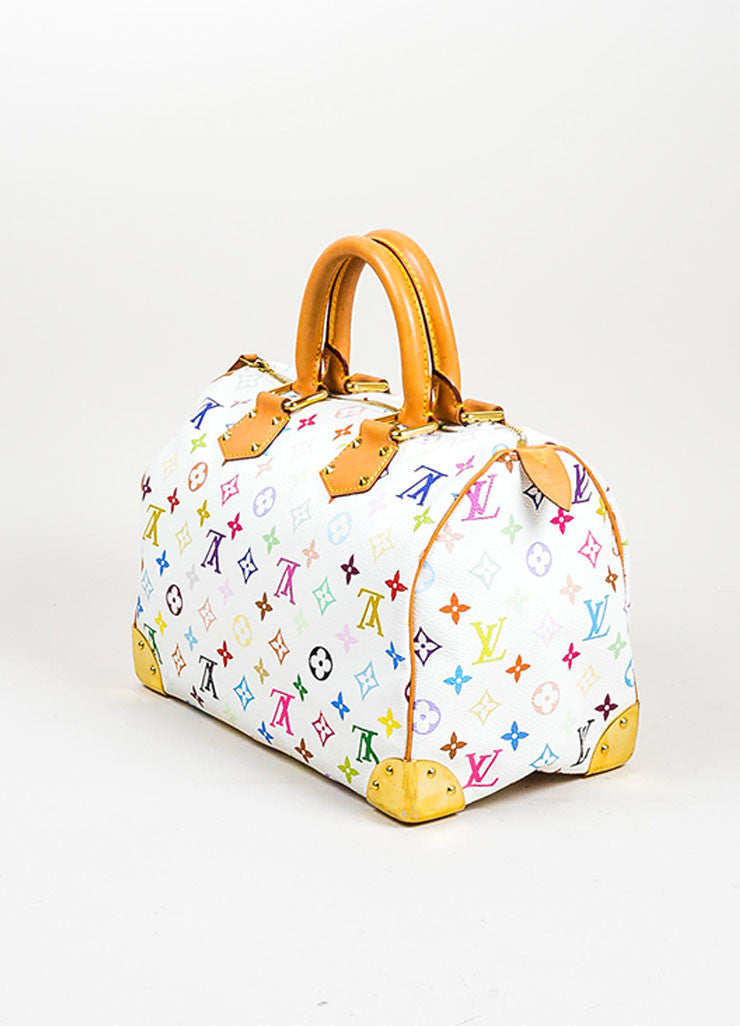Louis Vuitton Monogram Multicolore Speedy 30 White Canvas and Leather Satchel Sideview
