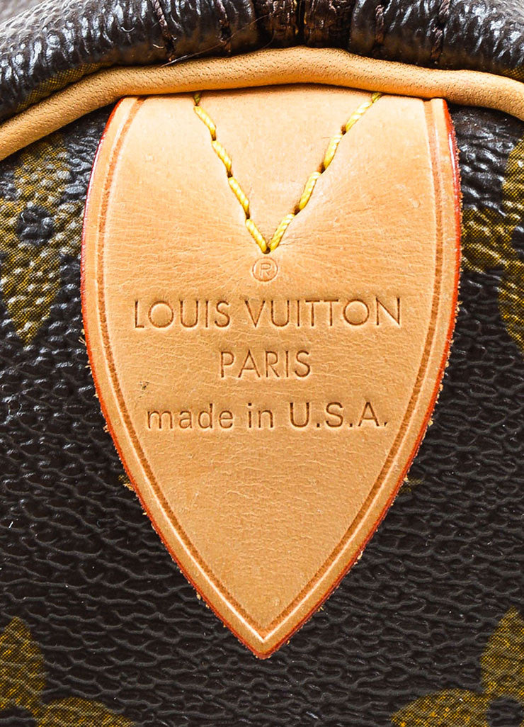 "Brown and Tan Louis Vuitton Coated Canvas Monogram ""Speedy 30"" Satchel Bag Brand"