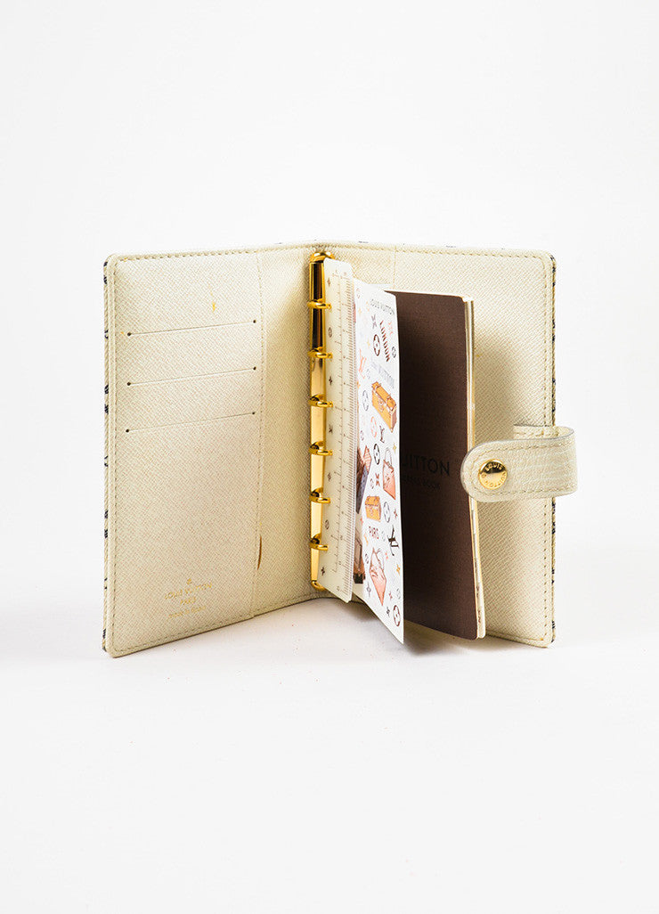 "Louis Vuitton Beige, Cream, and Navy Monogram ""Croisette Mini Lin Small Agenda"" Cover interior"