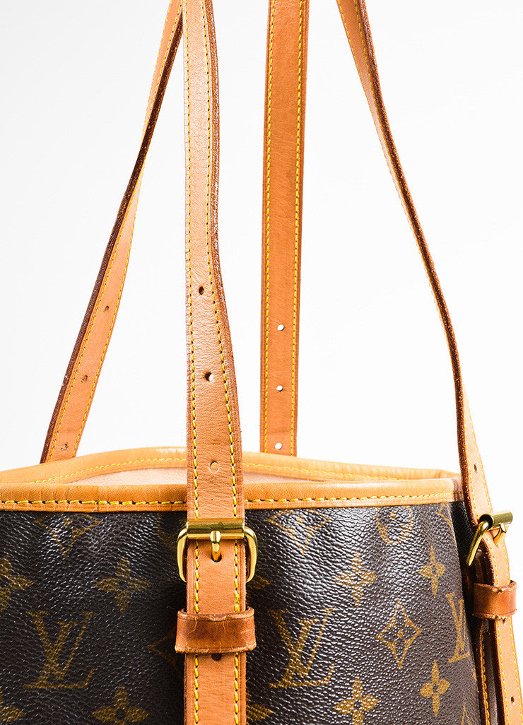 "Louis Vuitton Brown and Tan Monogram Coated Canvas ""Bucket"" Shoulder Bag Detail 2"