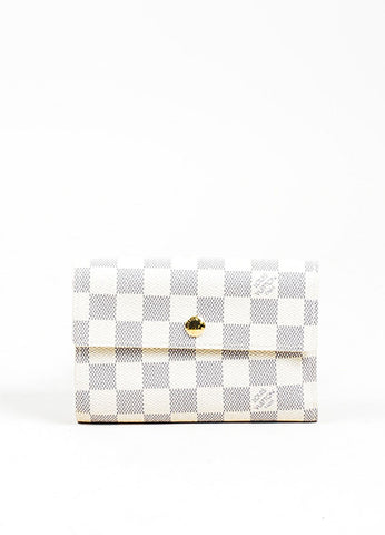 "Cream and Blue Louis Vuitton ""Damier Azur"" Coated Canvas ""Alexandra"" Wallet Frontview"