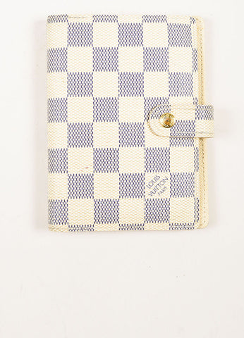 Louis Vuitton Damier Azur Canvas Small Notebook Cover Frontview