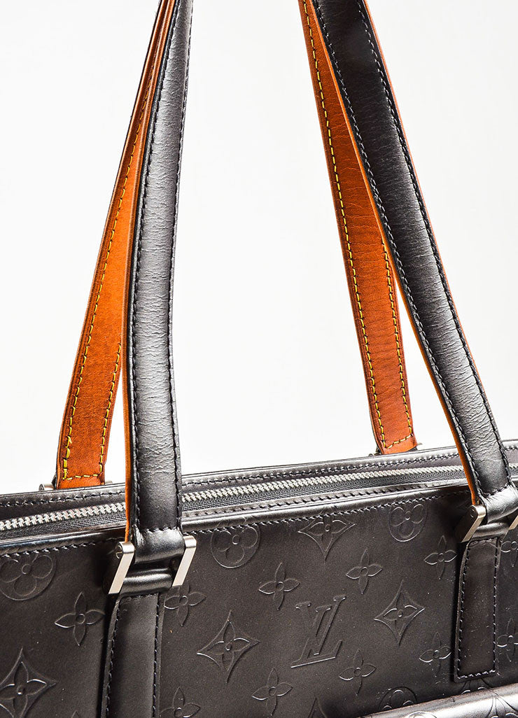 "Louis Vuitton Grey and Tan Leather Monogram Vernis ""Mat Wildwood"" Tote Bag Detail 2"