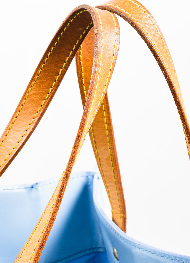 "Pale Blue Louis Vuitton Monogram Vernis ""Reade MM"" Tote Bag Detail 2"