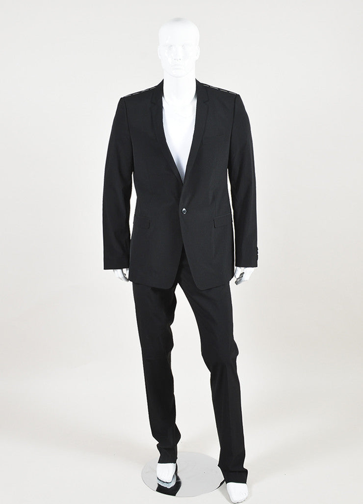 Men's Dolce & Gabbana Black Wool Slim Leg Suit Front 2