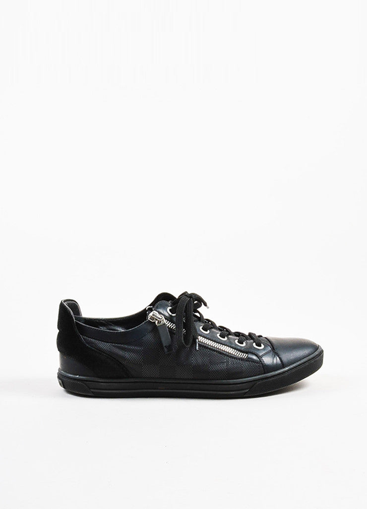"Men's Louis Vuitton Black Damier ""Aventure"" Zip Up Sneakers Side"