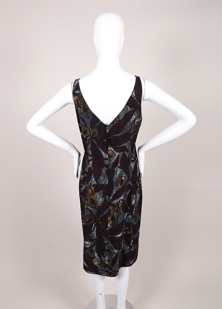 Marc Jacobs New With Tags Multicolor Crepe Graphic Leaf Print Sleeveless Sheath Dress Backview