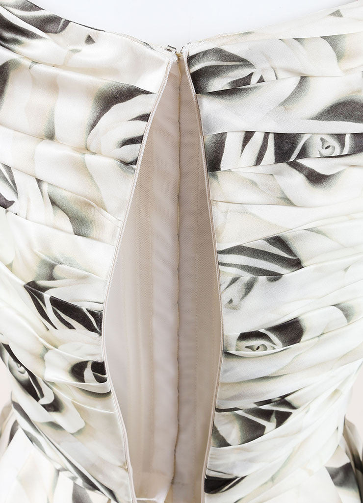 Naeem Khan Cream and Black Silk Floral Ruched Cocktail Dress Detail 2