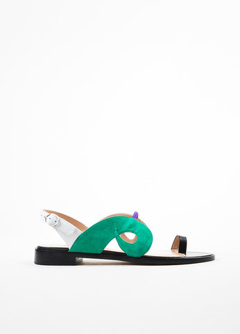"Paula Cademartori Black, Green, and White Leather Suede ""Danae"" Sandals Sideview"