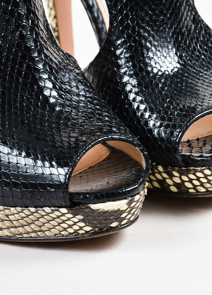 Prada Black and Cream Snakeskin Contrast Platform Heel Peep Toe Sandals Detail