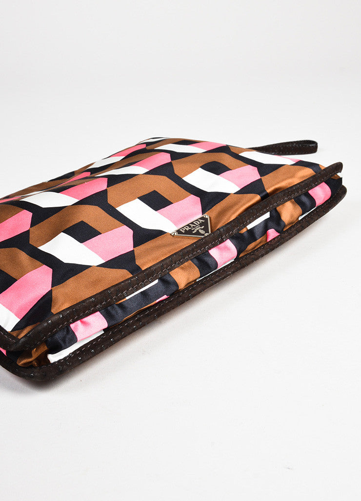 Prada Brown, Pink, and White Satin Holiday & Brown London Specially Reedited Wristlet Bottom View