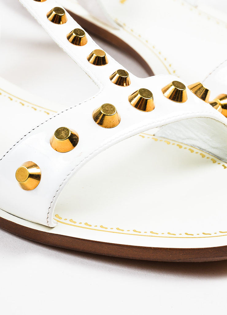 Prada White Patent Leather Gold Toned Studded Flat T-Strap Sandals Detail