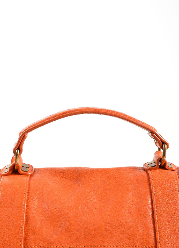 "Proenza Schouler Orange ""PS1"" Large Satchel Flap Bag Detail 2"