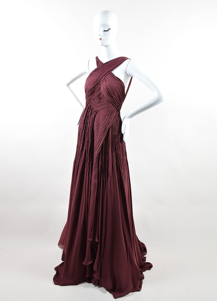 "Ralph Lauren Burgundy Silk Chiffon Draped Pleated ""Adelaide"" Gown Sideview"