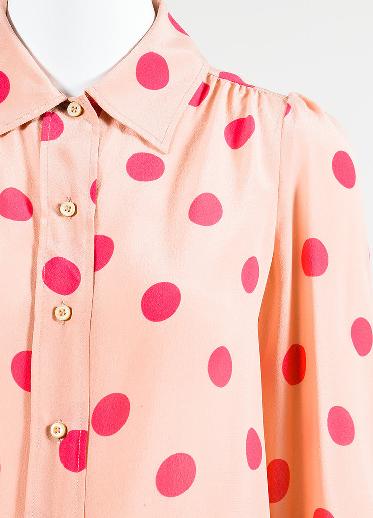 Red Valentino Pink Silk Polka Dot Button Down Blouse Detail