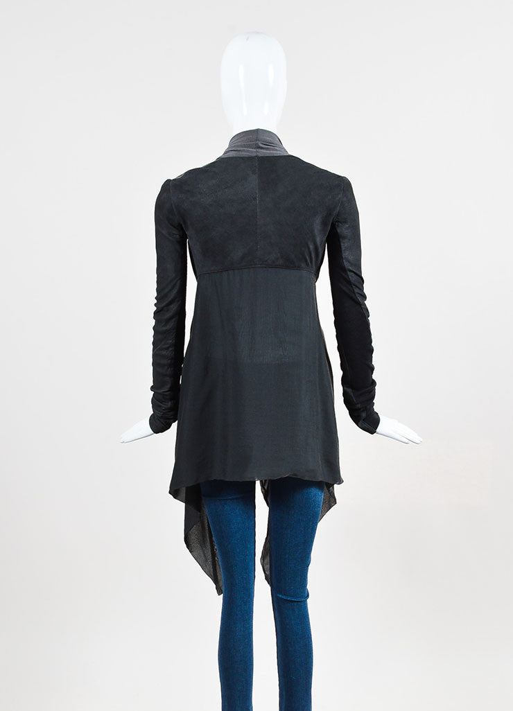 "Rick Owens ""Darkshadow"" Grey Silk and Leather Paneled Jacket  Backview"