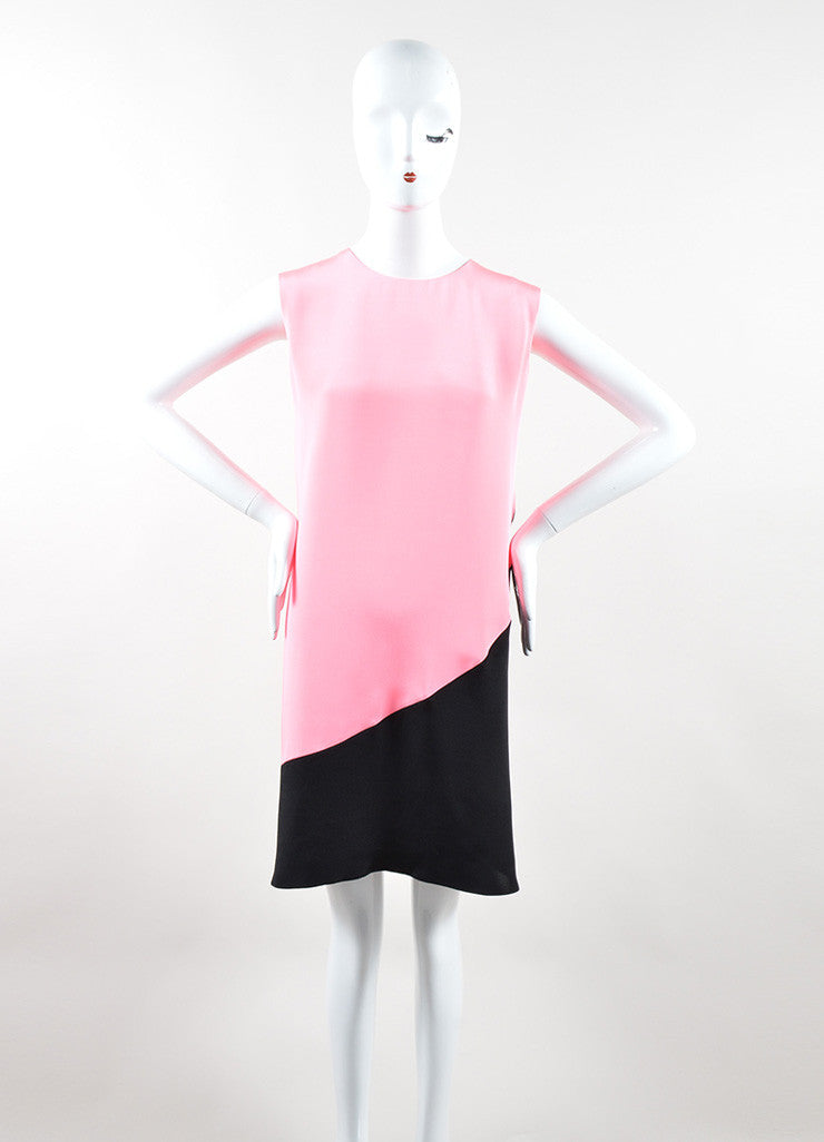 Roksanda Neon Pink and Black Silk Contrast Sleeveless Tent Dress Frontview