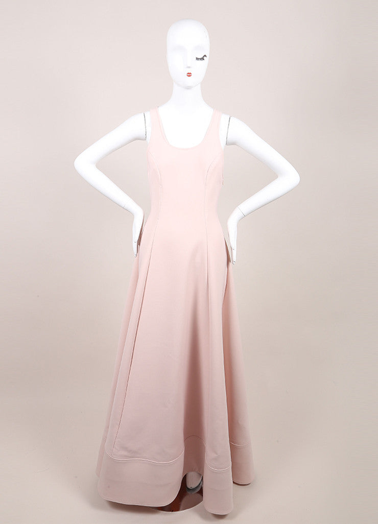 Rosie Assoulin New With Tags Blush Pink Sleeveless Flared Knit Swimsuit Gown Frontview