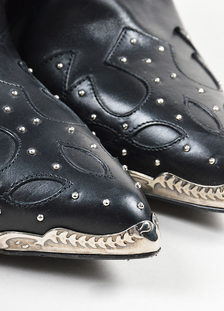 Black Silver Toned Studded Steel Toe Saint Laurent Western Heeled Ankle Boots Detail