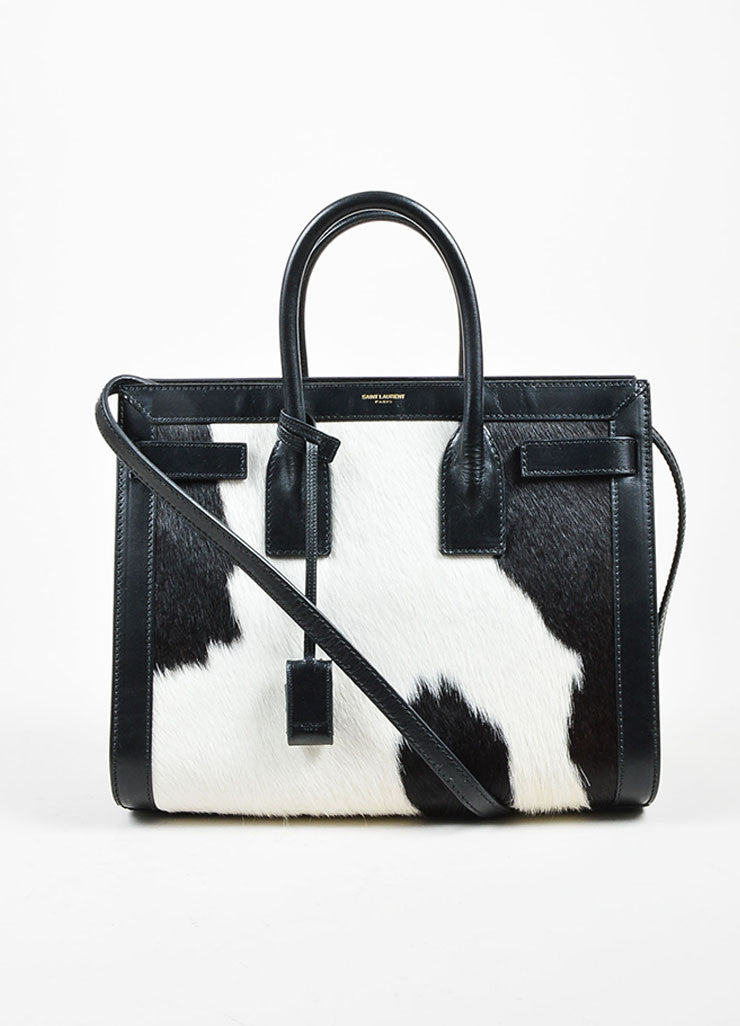"Black and White Pony Hair Leather Saint Laurent ""Small Sac De Jour"" Tote Bag Frontview"