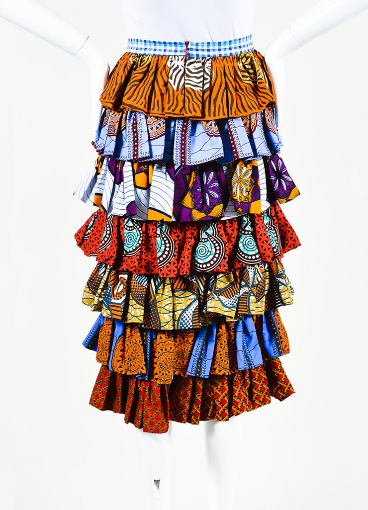 "Stella Jean Multicolor Mixed Print ""Apicoltore"" Ruffled Skirt Backview"