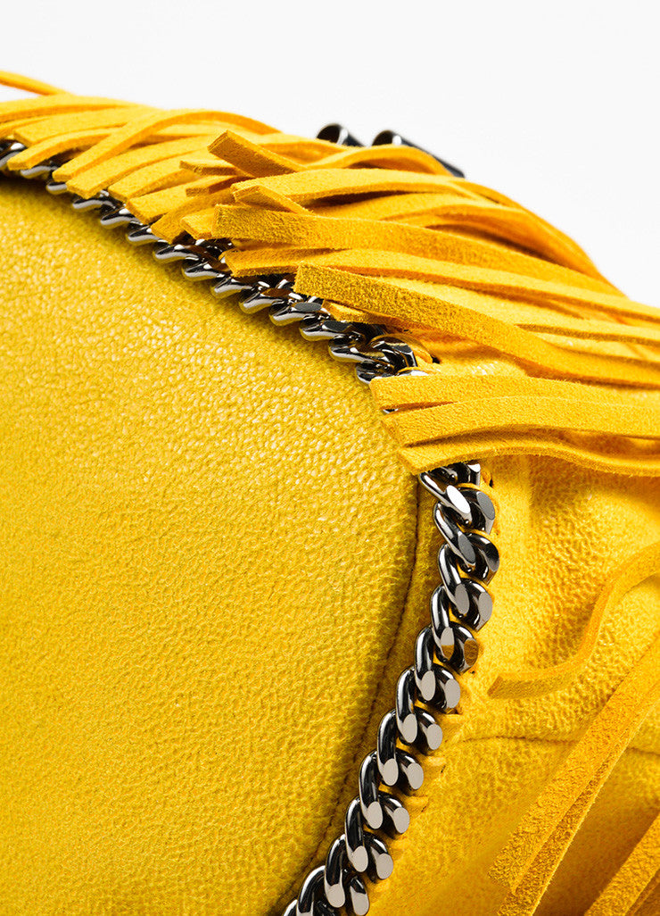 "Stella McCartney Yellow Shaggy Deer ""Sun Falabella"" Fringe Bucket Bag Detail"