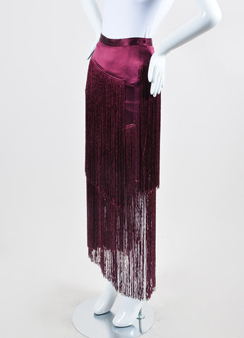 Burgundy Purple Tamara Mellon Silk Tiered Fringe Skirt Sideview