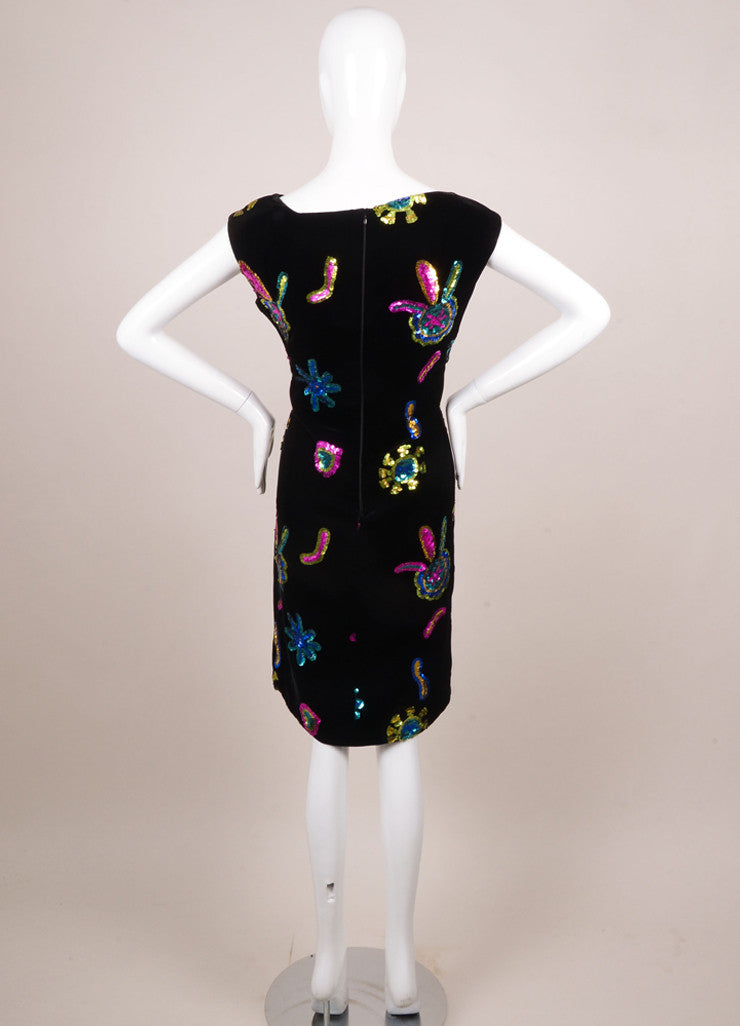 Christian Lacroix Black Velvet Multicolor Sequin Embellished Dress Backview