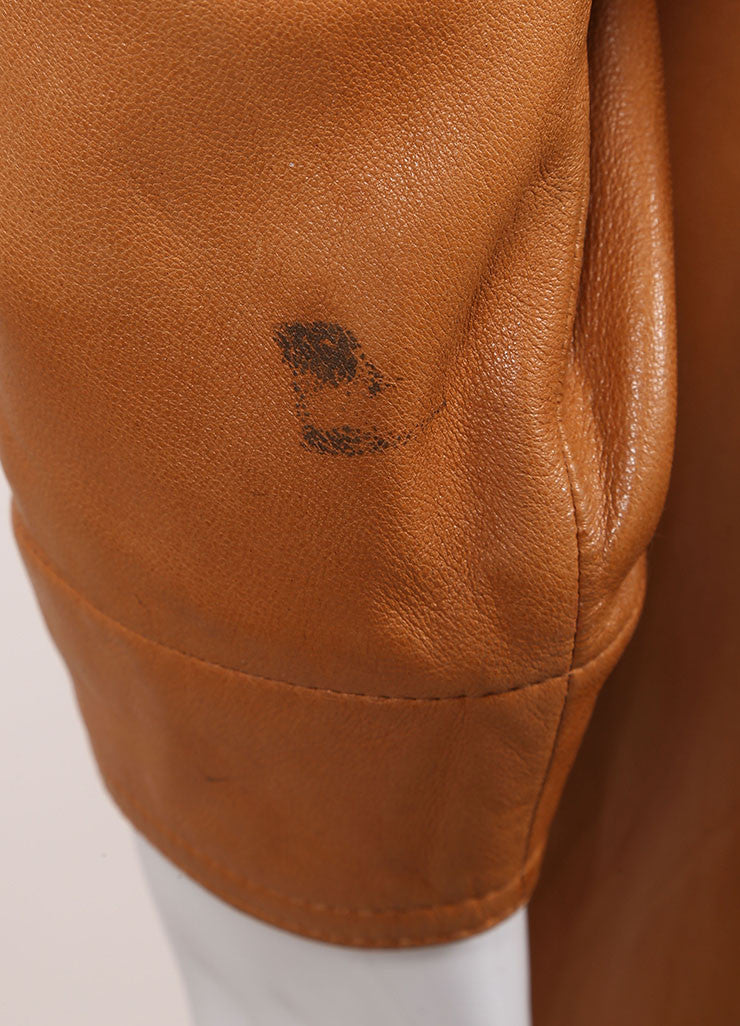 Claude Montana Cognac Leather Oversized Long Jacket Detail 2
