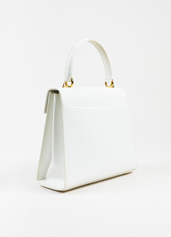"White Gucci Gold Tone Leather ""Kelly"" Satchel Bag Back"