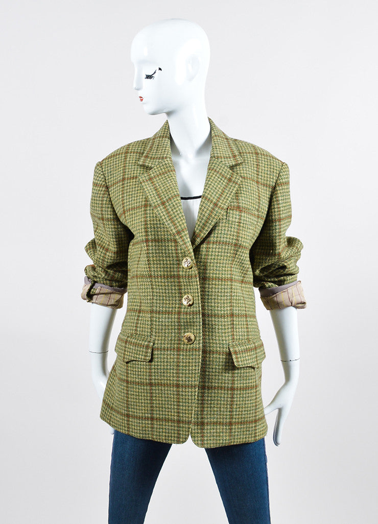Green and Brown Houndstooth Hermes Suede Elbow Jacket Frontview 2