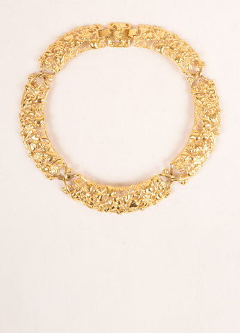 Monet Gold Toned Floral Metal Filigree Collar Necklace Frontview