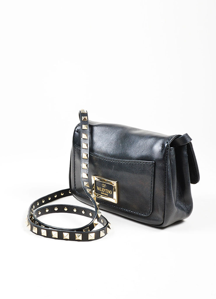 "Black Leather Valentino Studded ""Rockstud"" Flap Shoulder Crossbody Bag Sideview"