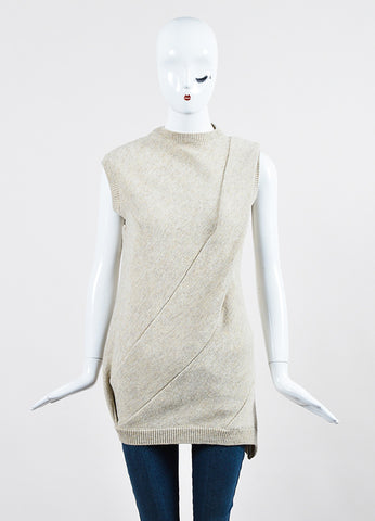 "Beige ""Cream Melange"" Victoria Beckham Wool Sleeveless Sweater  Frontview"